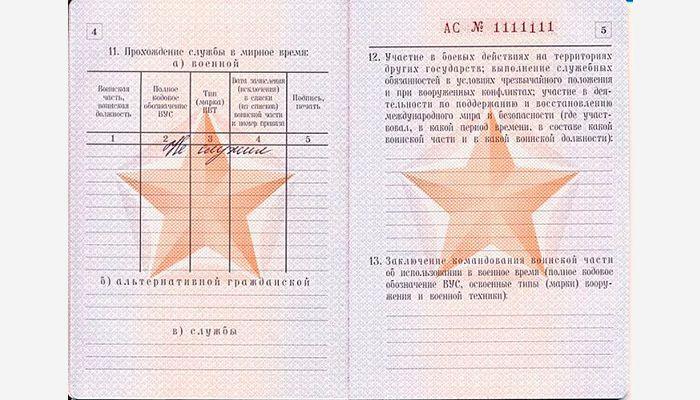 Военный билет страница 4 и 5